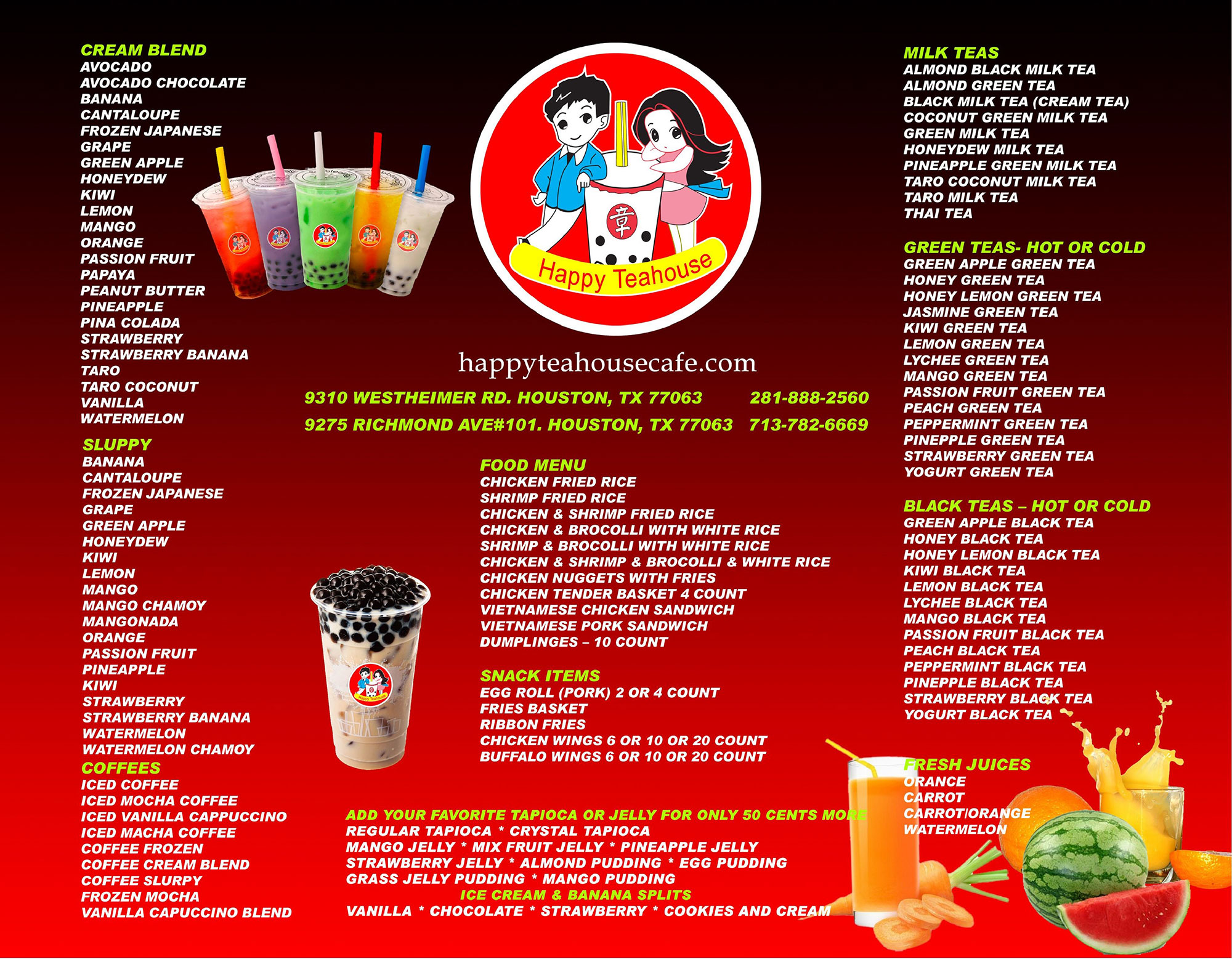 Happy Teahouse Menu